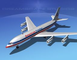 boeing 707 american freighter 3d model rigged