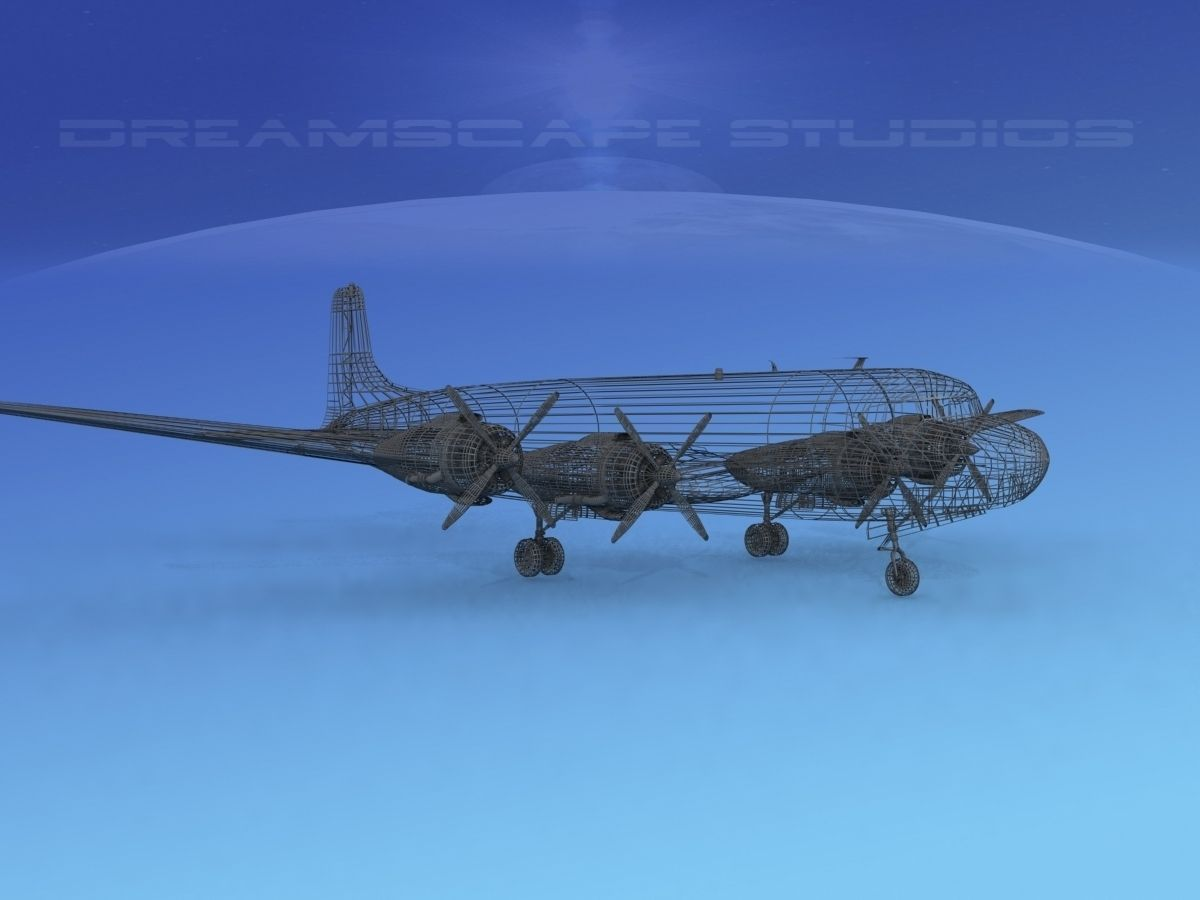 Douglas DC7C Carribean Charter 3D Model Rigged Max Obj 3ds Lwo Lw Lws