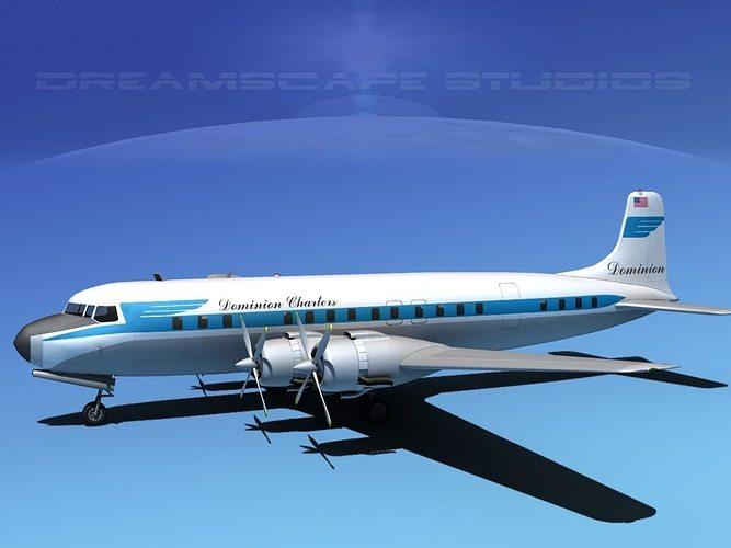 Douglas DC7C Dominion Charter 3D Model Rigged MAX OBJ 3DS LWO LW LWS DXF STL