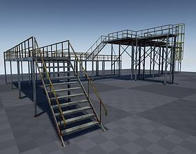 Modular industrial platform PBR 3D asset