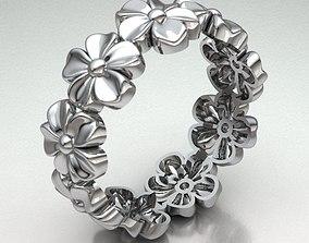 3D print model FLOWER BAND RING REF-77