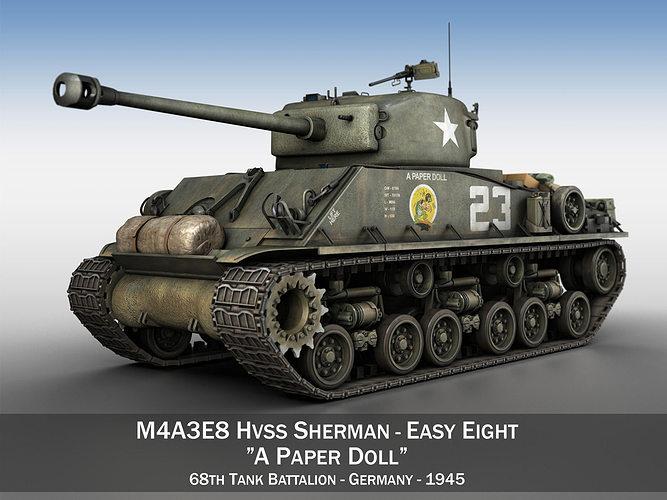 m4a3e8 sherman - easy eight - a paper doll 3d model obj mtl 3ds fbx c4d lwo lw lws 1