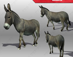 3d model low-poly donkey animated