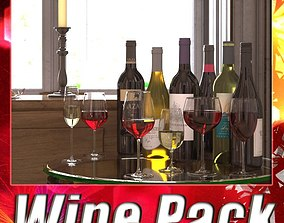 6 Wine Bottles and 6 Wine Glasses 3D
