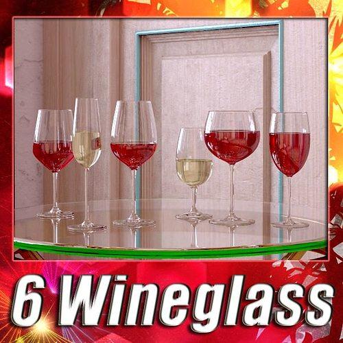 6 wine glass collection 3d model max obj 3ds fbx mtl mat 1