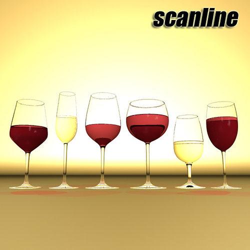 6 wine glass collection 3d model max obj 3ds fbx 28