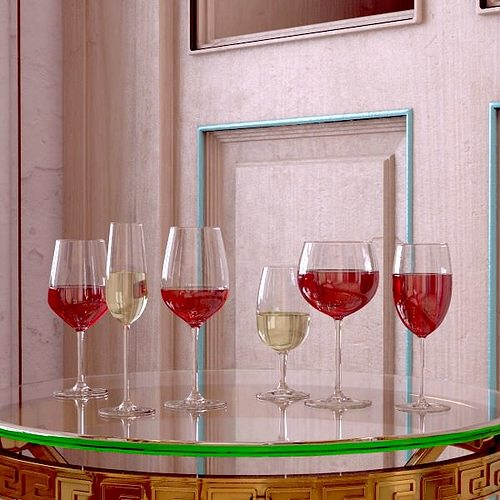 6 wine glass collection 3d model max obj 3ds fbx mtl mat 2