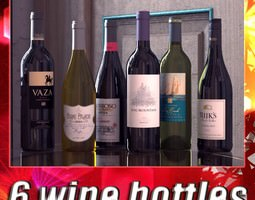 3D model 6 Wine Bottles Collection