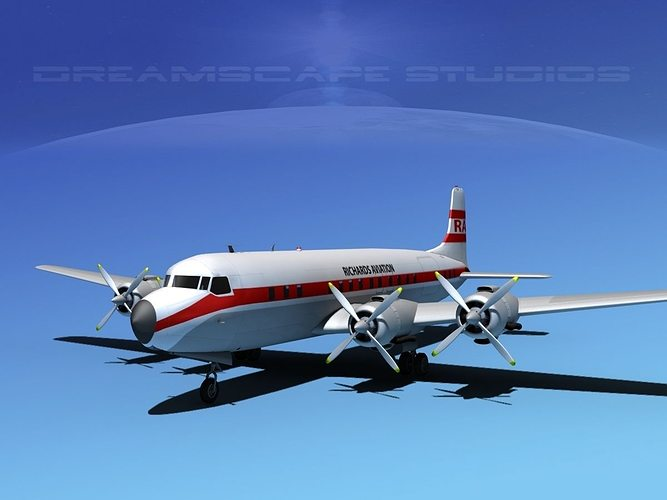 douglas dc-7c richards aviation 3d model max obj mtl 3ds lwo lw lws dxf stl 1