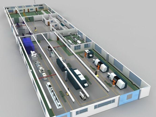 factory indoor and production equipment 3d model max fbx 1