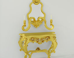 Rococo style table 3D Model