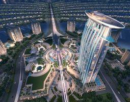 3D model Dubai Palm Island Nighting