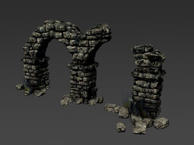 Ancient Columns With Arch Ruins 3d Model Game Ready Max Obj 3ds Fbx C4d