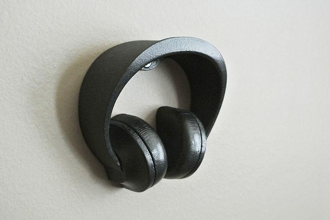 Headphone stand 2 3d model 3d printable stl - Wall mount headphone holder ...