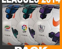 2013 2014 European Leagues Match Balls Pack 3D Model