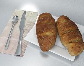 Breakfast Set - Seed Bread 3D model