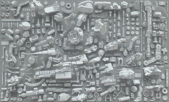 kit bash-272 pieces- part3 3d model max obj fbx stl 1