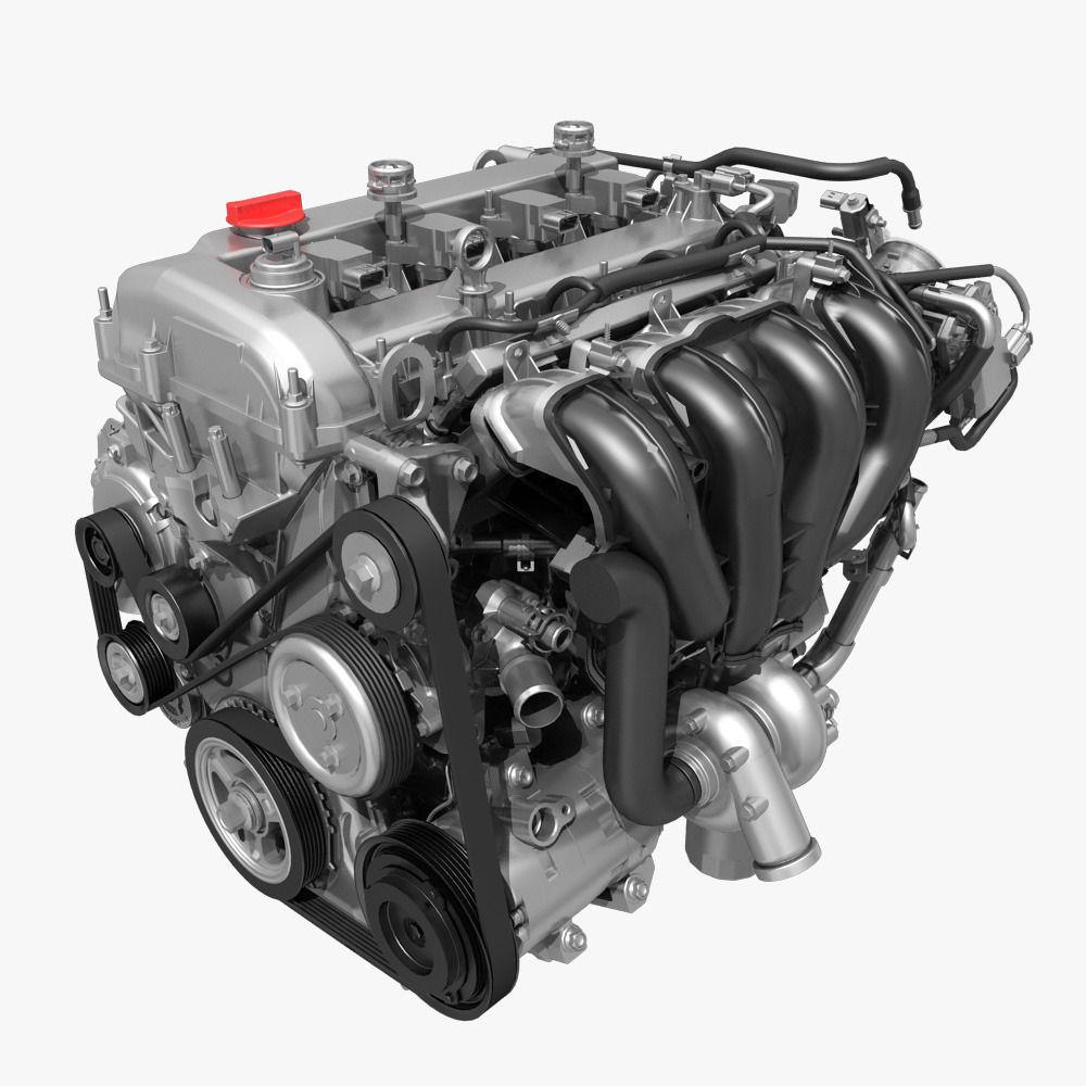 Car 4 Cylinder Engine 01 Model Max Fbx 1