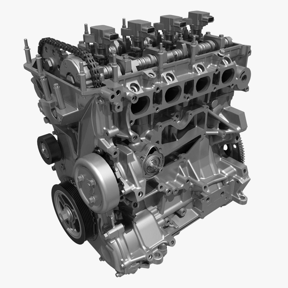 Model Car With Engine: 4 Cylinder Engine Block 01 3D Model MAX FBX
