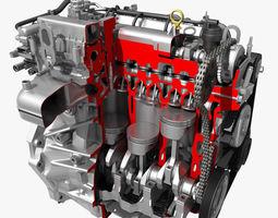 3d car 4 cylinder engine cutaway