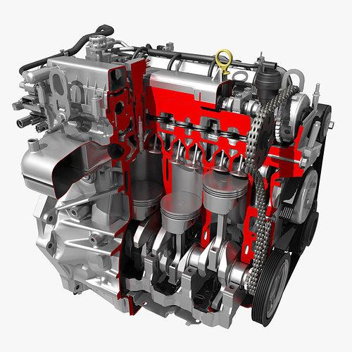 Model Car With Engine: Car 4 Cylinder Engine Cutaway 3D
