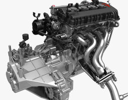 engine with transmission exhaust 3d model