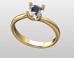 Organic solitaire ring 3D Model