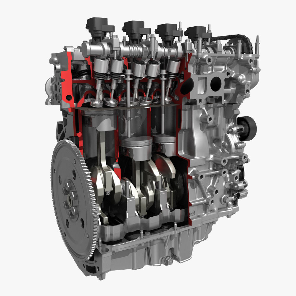 4 Cylinder Engine Block Cutaway 3d Model  Max  Fbx