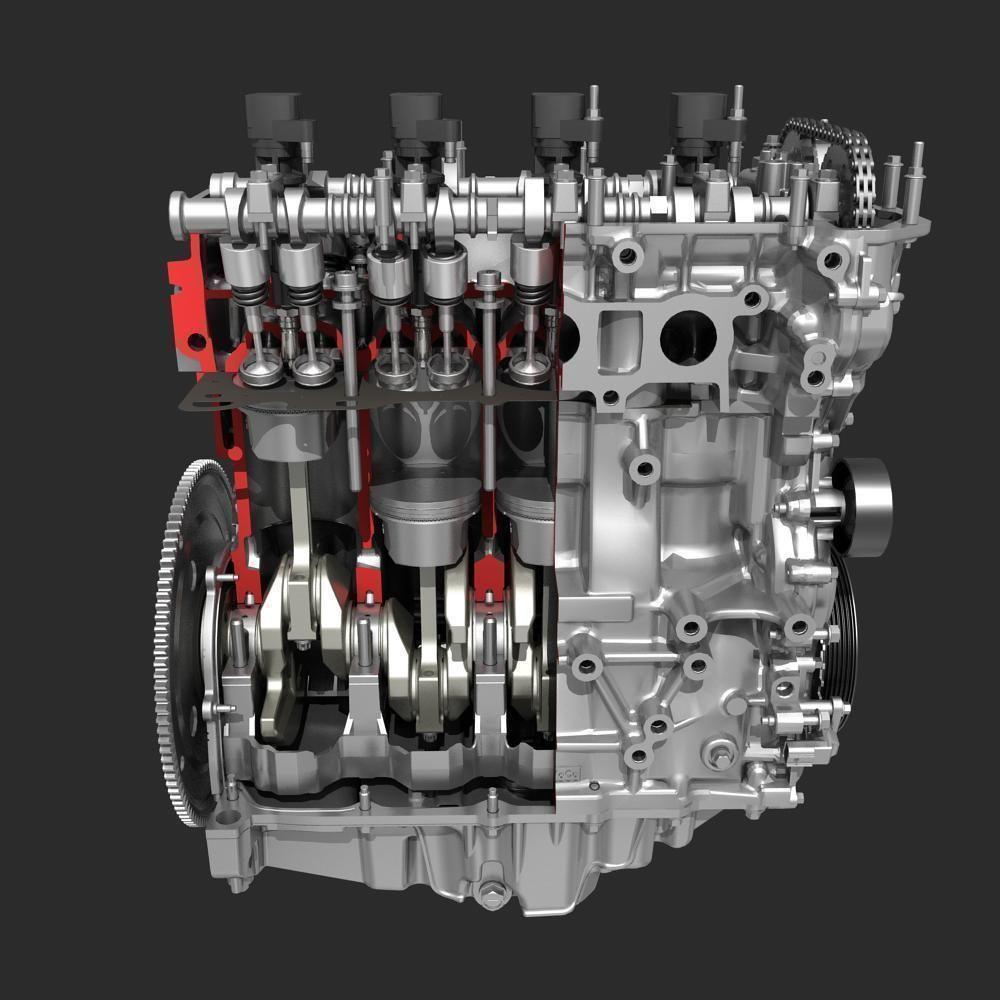 4 Cylinder Engine Block Cutaway 3D Model .max .fbx - CGTrader.com