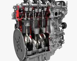 4 Cylinder Engine Block Cutaway 3D Model
