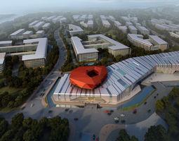 software park 3d model of urban planning