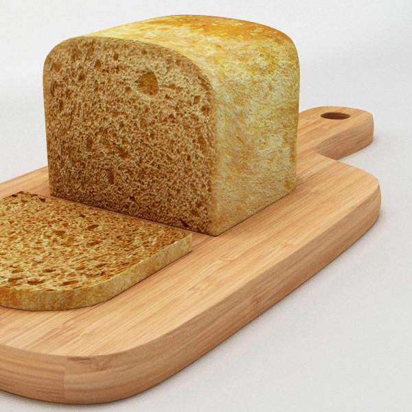Cutting Board With Bread 3D Model MAX OBJ