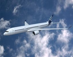 Airbus A350-900 commercial aircraft 3D Model