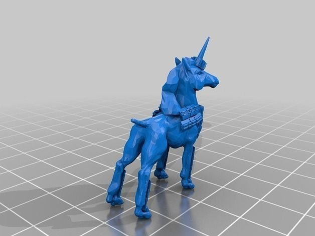 3d printable model dog unicorn with bling