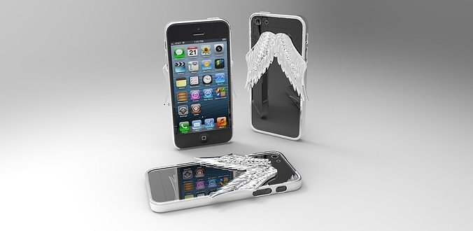 iphone 5 angel wings case 2nd version 3d model wrl wrz 1