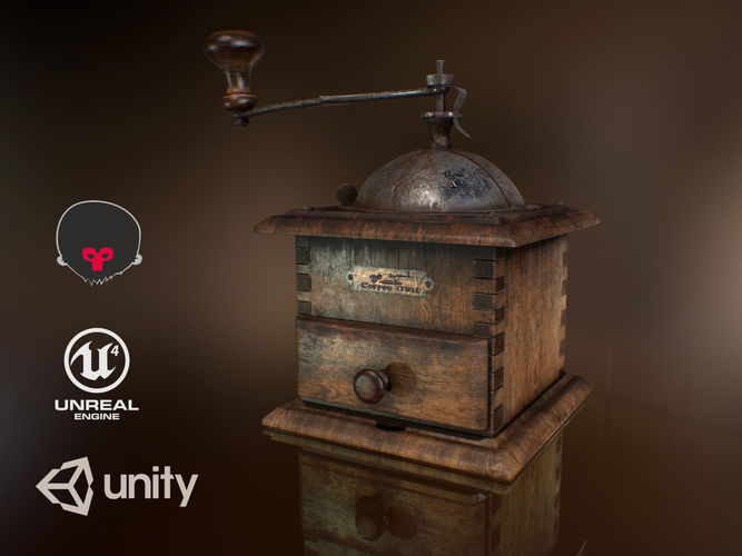 coffee mill pbr 3d model low-poly animated obj mtl fbx unitypackage prefab uasset 1