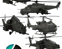 Military helicopter collection 3D Model