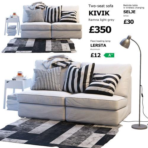 Two Seat Sofa Ikea Kivik 1 Model Max Obj Mtl Fbx