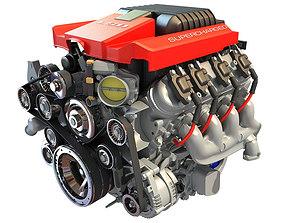 3D Red Cover Chevrolet Camaro V8 Engine
