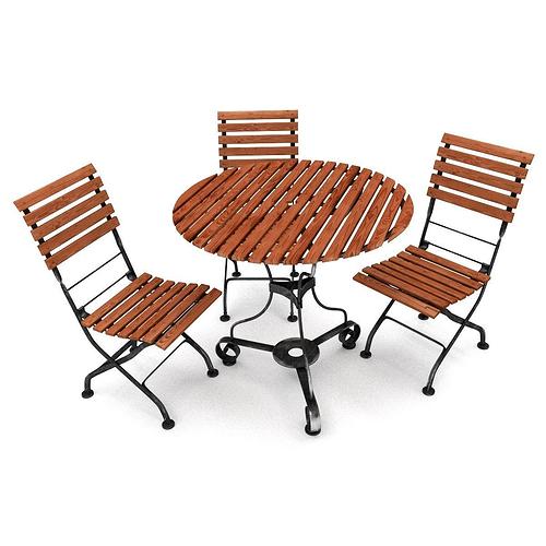 Garden furniture set garden 3d model cgtrader for Outdoor furniture 3d model