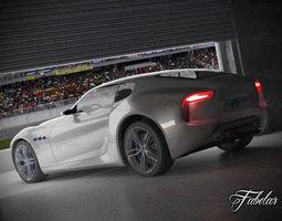 Maserati Alfieri + garage 3D Model