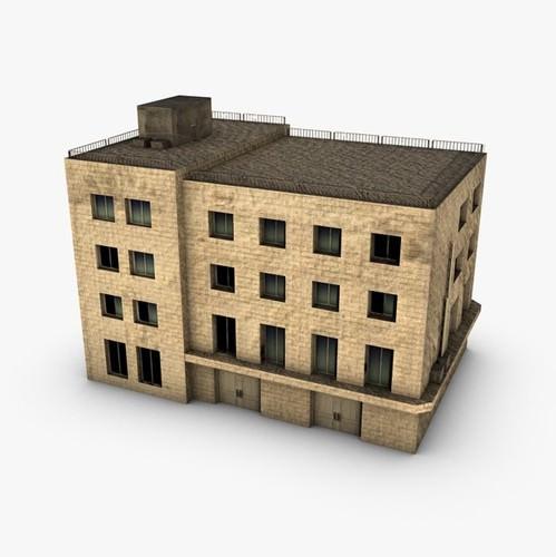Low Poly Building 3d Model Max Obj 3ds Fbx C4d