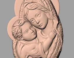 Christianity Jesus Christ Virgin Mary CNC 3D relief model