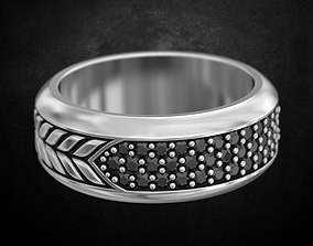 3D printable model Stylish mens ring with black stones 167