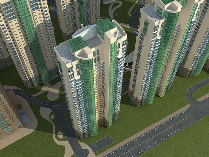 Modern Skyscraper with Artistic Building3D model