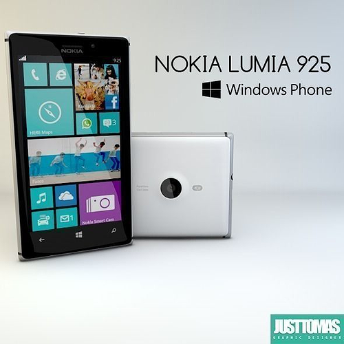 nokia lumia 925 3d model obj 3ds c4d 1