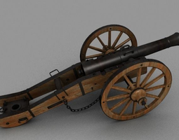 3d asset game-ready field cannon