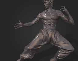 game-ready Bruce Lee Statue 3D model