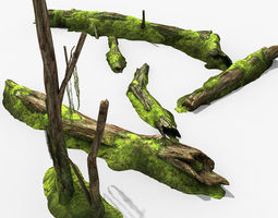 3D model Decayed Tree Bark with Moss