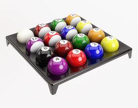 3D model Pool Balls on plastic holder